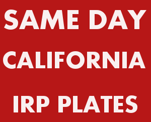 Same Day California IRP Plate - Apportioned Plates